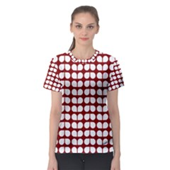 Red And White Leaf Pattern Women s Sport Mesh Tees