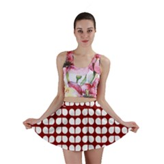 Red And White Leaf Pattern Mini Skirts