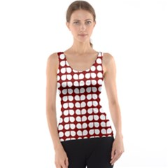 Red And White Leaf Pattern Tank Tops