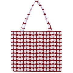 Red And White Leaf Pattern Tiny Tote Bags