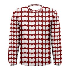 Red And White Leaf Pattern Men s Long Sleeve T-shirts