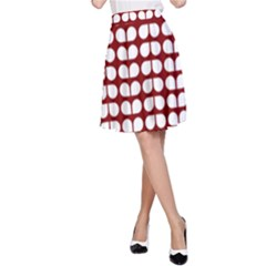 Red And White Leaf Pattern A-Line Skirts