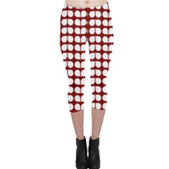 Red And White Leaf Pattern Capri Leggings