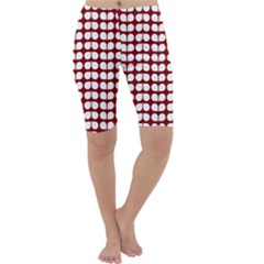 Red And White Leaf Pattern Cropped Leggings