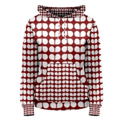 Red And White Leaf Pattern Women s Pullover Hoodies