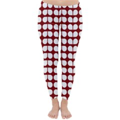 Red And White Leaf Pattern Winter Leggings