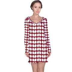Red And White Leaf Pattern Long Sleeve Nightdresses
