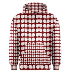 Red And White Leaf Pattern Men s Zipper Hoodies