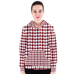 Red And White Leaf Pattern Women s Zipper Hoodies