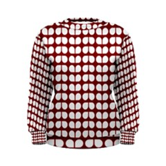 Red And White Leaf Pattern Women s Sweatshirts