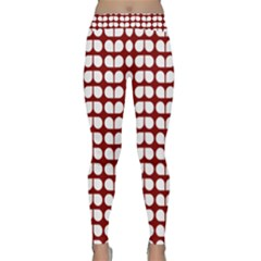 Red And White Leaf Pattern Yoga Leggings