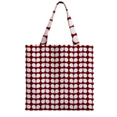 Red And White Leaf Pattern Zipper Grocery Tote Bags