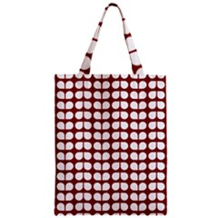 Red And White Leaf Pattern Zipper Classic Tote Bags