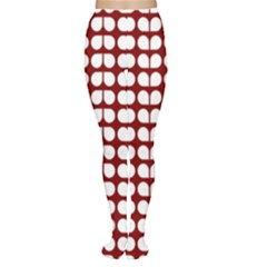 Red And White Leaf Pattern Women s Tights