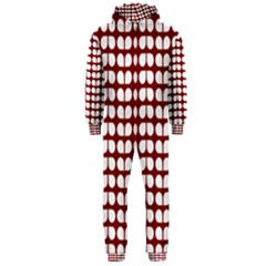 Red And White Leaf Pattern Hooded Jumpsuit (Men)