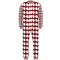 Red And White Leaf Pattern Onepiece Jumpsuit (men)