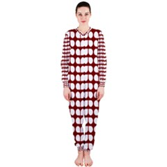 Red And White Leaf Pattern Onepiece Jumpsuit (ladies)