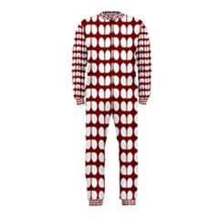 Red And White Leaf Pattern OnePiece Jumpsuit (Kids)