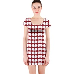 Red And White Leaf Pattern Short Sleeve Bodycon Dresses