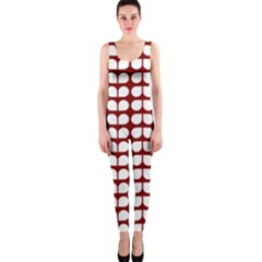 Red And White Leaf Pattern OnePiece Catsuits
