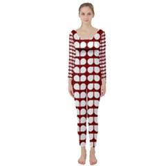 Red And White Leaf Pattern Long Sleeve Catsuit