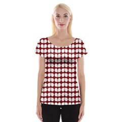 Red And White Leaf Pattern Women s Cap Sleeve Top