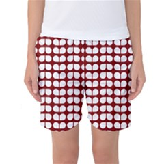 Red And White Leaf Pattern Women s Basketball Shorts