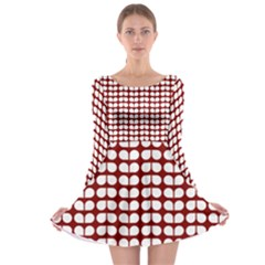 Red And White Leaf Pattern Long Sleeve Skater Dress