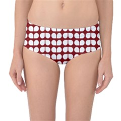 Red And White Leaf Pattern Mid Waist Bikini Bottoms