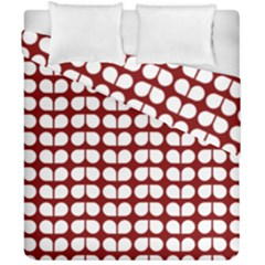 Red And White Leaf Pattern Duvet Cover (double Size)