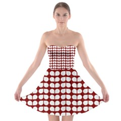 Red And White Leaf Pattern Strapless Bra Top Dress