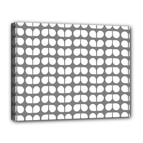 Gray And White Leaf Pattern Canvas 14  X 11