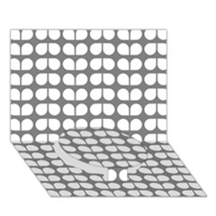 Gray And White Leaf Pattern Circle Bottom 3D Greeting Card (7x5)
