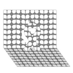 Gray And White Leaf Pattern Ribbon 3D Greeting Card (7x5)