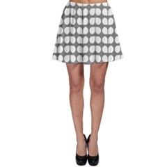 Gray And White Leaf Pattern Skater Skirts