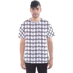 Gray And White Leaf Pattern Men s Sport Mesh Tees
