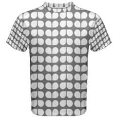 Gray And White Leaf Pattern Men s Cotton Tees