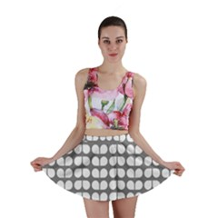 Gray And White Leaf Pattern Mini Skirts