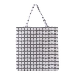 Gray And White Leaf Pattern Grocery Tote Bags