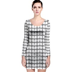 Gray And White Leaf Pattern Long Sleeve Bodycon Dresses
