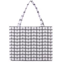 Gray And White Leaf Pattern Tiny Tote Bags