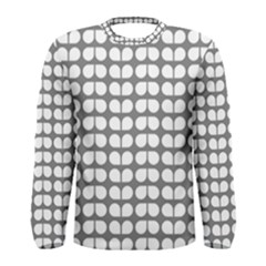 Gray And White Leaf Pattern Men s Long Sleeve T Shirts