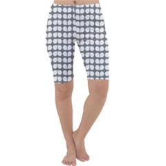 Gray And White Leaf Pattern Cropped Leggings