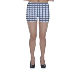 Gray And White Leaf Pattern Skinny Shorts