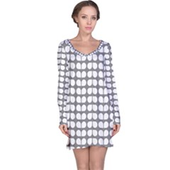 Gray And White Leaf Pattern Long Sleeve Nightdresses