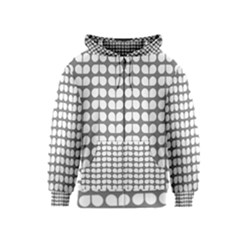 Gray And White Leaf Pattern Kids Zipper Hoodies
