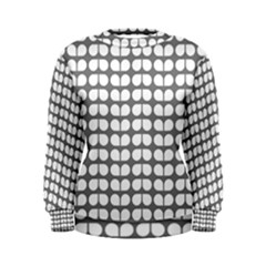 Gray And White Leaf Pattern Women s Sweatshirts