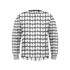 Gray And White Leaf Pattern Boys  Sweatshirts