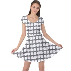 Gray And White Leaf Pattern Cap Sleeve Dresses
