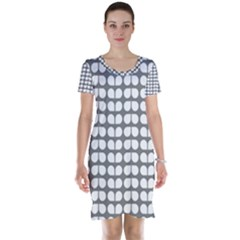 Gray And White Leaf Pattern Short Sleeve Nightdresses
